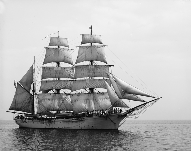 A typical Barque sailing ship