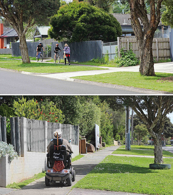 Walker, bikes and electric wheelchair.