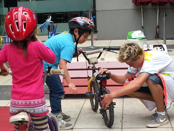 Doing bicycle repairs