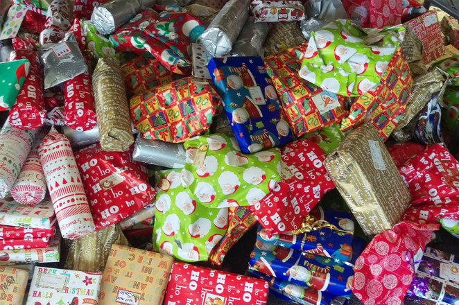 Presents wrapped and ready to put into boxes for families around Brisbane