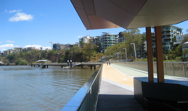 The popular Riverwalk takes you out over the Brisbane River