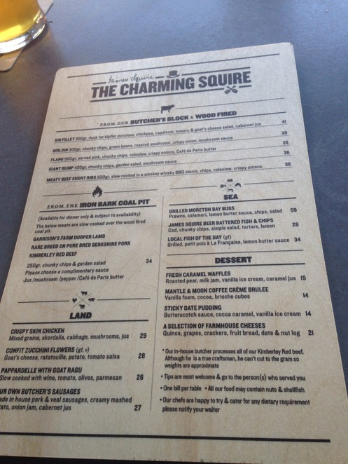 Charming Squire Restaurant Menu