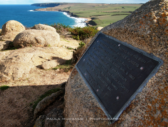 Encounter Bay memorial plaque, The Bluff, Victor Harbor (©paula mcmanus)