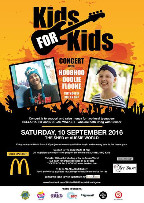 Kids for Kids Concert, The Shed at Aussie World, exclusive use of Aussie World from 5.30pm until 7.00pm; local Sunshine Coast Bands, Fundraising for two Sunshine Coast teenagers who have cancer, fun for the family