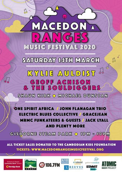 macedon ranges music festival 2020, community event, fun things to do, charity, fundraiser, gisborne steam park, cambodian kids foundation, bands, musicians, kylie auldist, geoff achison music and the souldiggers, shaun kirk, michael dunstan, electric blues collective, one spirit africa, john flanagan trio, grace jean, macedon ranges music collective funkateers, youth stage winner jack lyall, pop up cocktail bar, award winning food trucks, food and beverages, roaming bands, kids activities, gisborne and district community bank branch, macedon ranges shire council