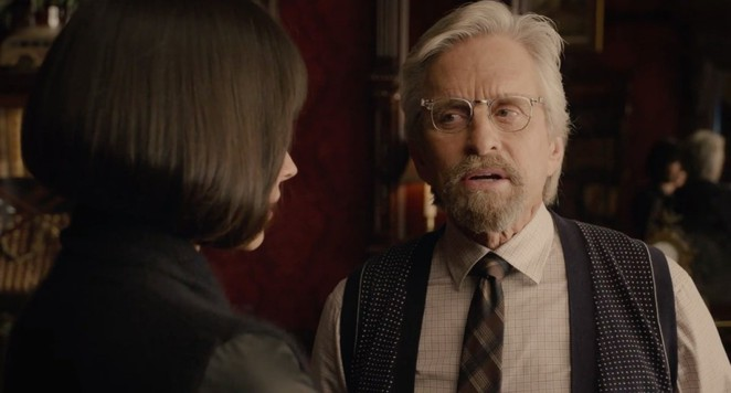 Hank Pym played by Michael Douglas having discussion with his daughter Hope van Dyne played by Evangeline Lily