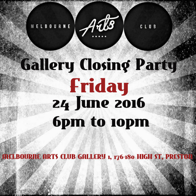 melbourne arts club, closing party, art exhibition, painters, artists, mixed media, ghost kitchen food try, sample brew beer, music, entertainment