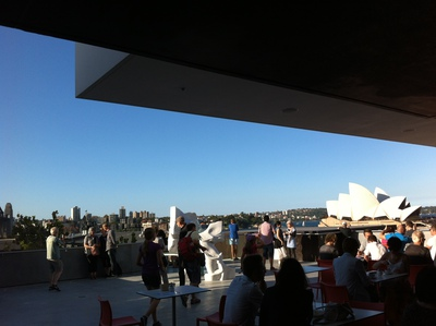 A panoramic view of Opera House and Harbour Bridge from the MCA Cafe