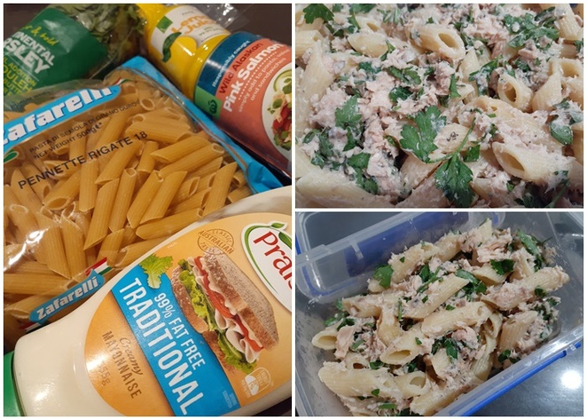 pasta salad, salmon, tinned salmon, red onion, parsley, pasta shells, penne pasta, budget recipes, lunchbox recipes, easy, cheap, budget, family friendly, australia, tinned corn, shallots, basic, carbs, salad,