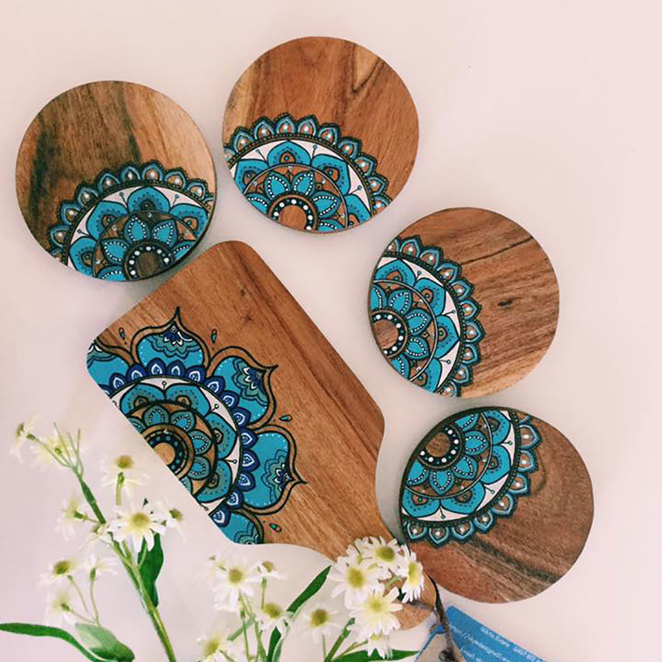 Roleystone Really Huge Mega Spring Market 2018 Skye's Designs – Hand painted Mandala serving boards.