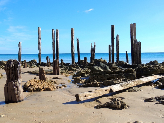 south of adelaide, port willunga, the beach, on the beach, beaches, nudist beaches, caves, ruins, shipwreck, jetty