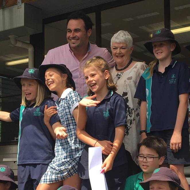 Stephanie Alexander with Miguel Maestre and Auburn South Primary school kids