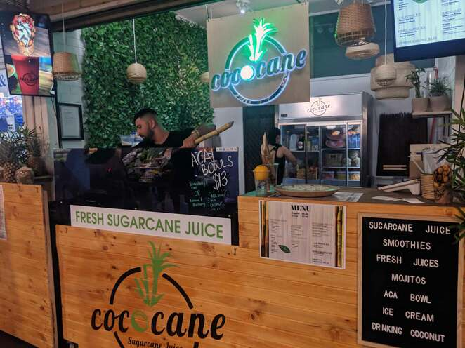 sugarcane juice, adelaide, central market, cococane, street food, juice