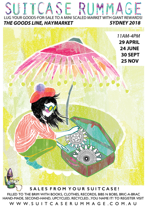 suitcase rummage in sydney 2018, community event, fun things to do, recycling, haymarket, the goods line, ultimo, secondhand clothing, secondhand goods, upcycling, suitcase rummage, mini scaled market, stall holders, the goods line, ultimo, trash and treasure