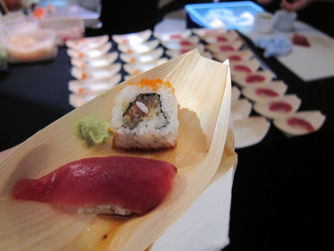 sushi e's stall at the launch party