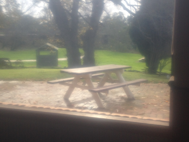 Table and chairs, outside Barwon Hotel
