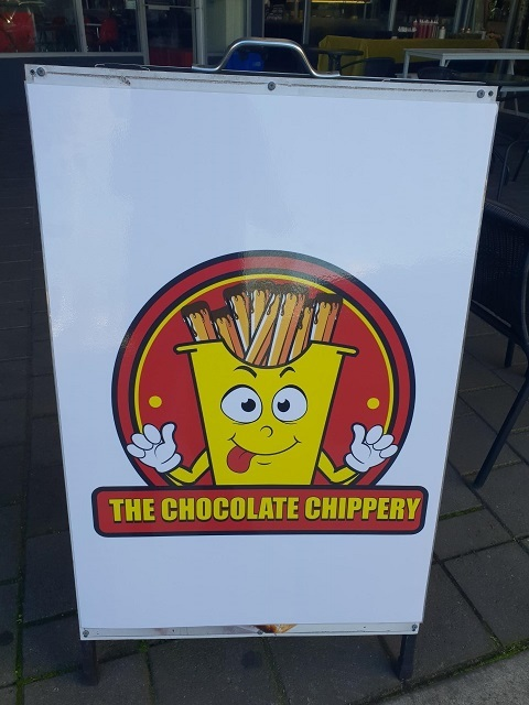the chocolate chippery sign