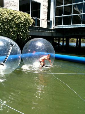 The water balls are exciting but exhausting