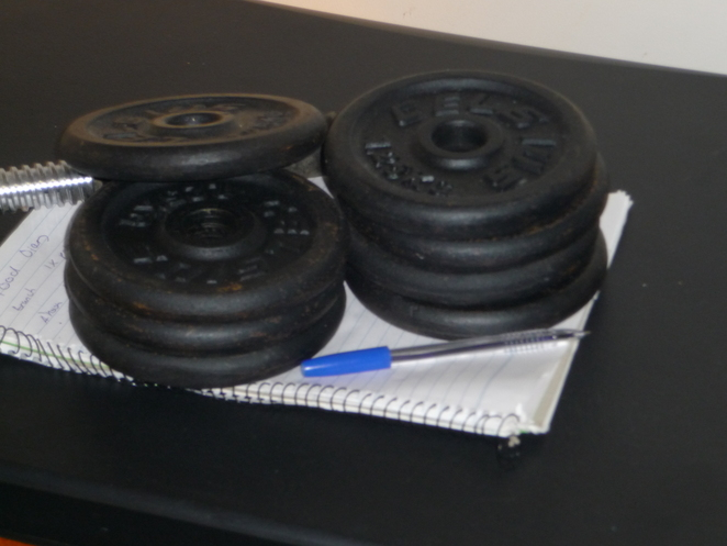 weights, at home, fitness, dumbells, lift, displayed