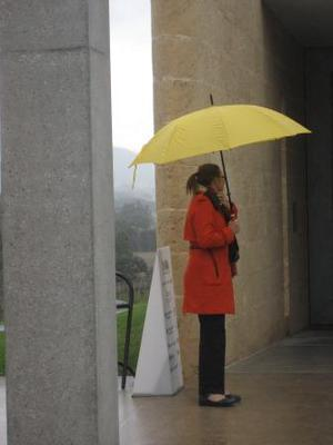A girl with yellow umbrella