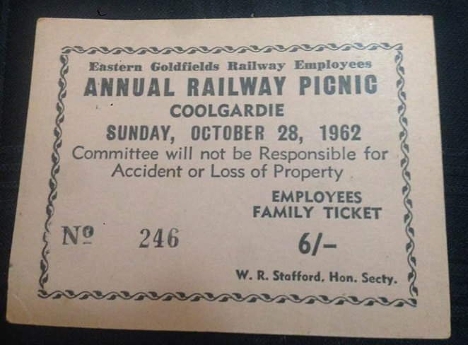 Admission ticket to the Annual Railway Picnic to be held at Coolgardie in 1962. The Old-Fashioned Railway Picnic Day at the South West Rail and Heritage Centre.