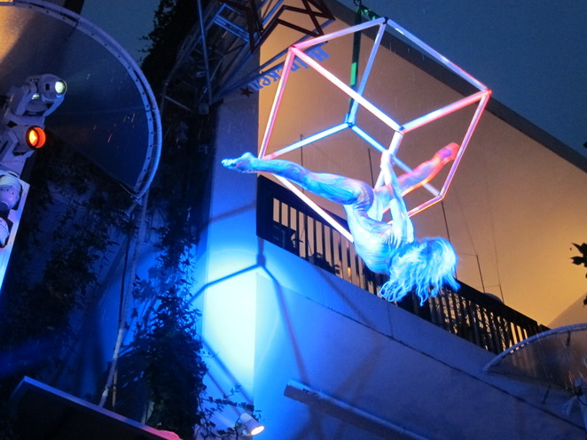 Aerialist entertainment during the launch party