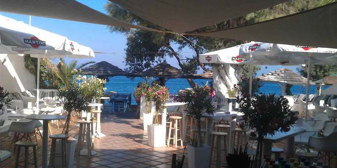 Albatross Beach Club Kamari Beach Santorini Betty Samis rock singer Australia