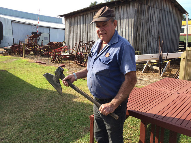 Blacksmith Blast at the South West Rail and Heritage Centre. Boyanup Foundation Blacksmith Ray with a broad axe made in the forge on the South West Rail and Heritage site.