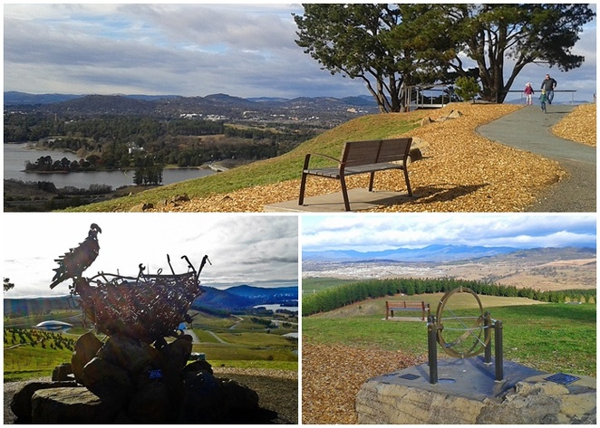 dairy farmers lookout, canberra, national arboretum, ACT, sculptures, nest 111, sundial, views, scenery, art, sculpture trail,
