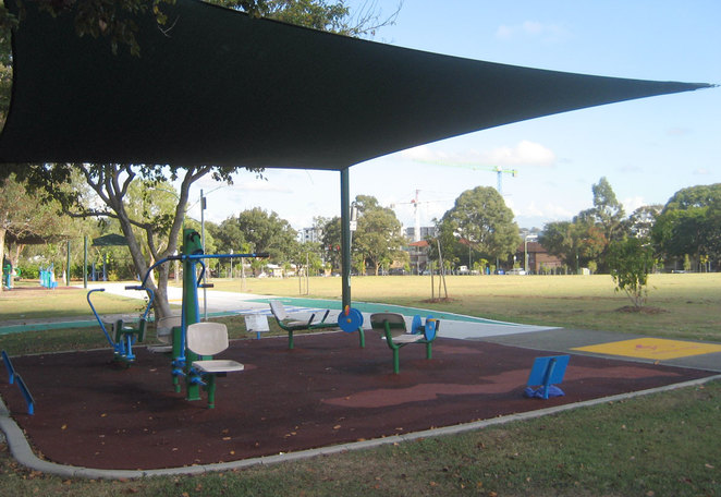 Exercise equipment at Burnie Brae Park in Chermside