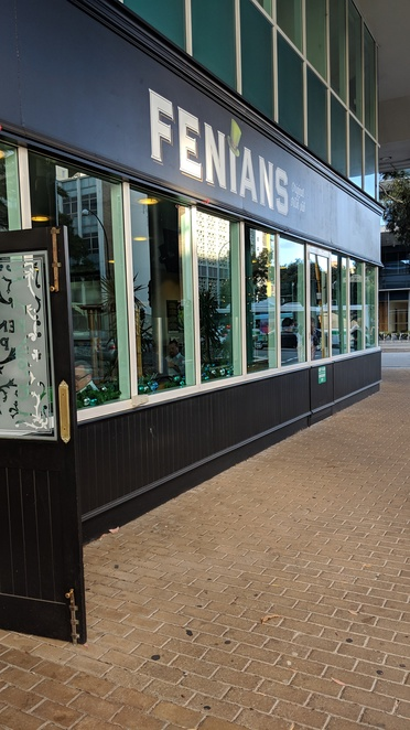 Fenians Irish pub facade entry