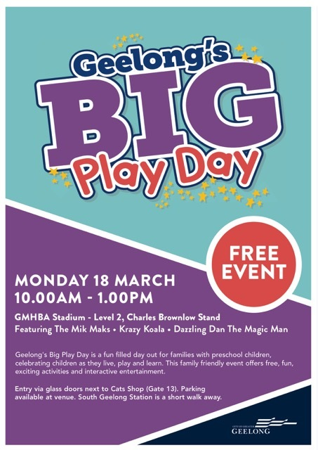Geelong's Big Play Day, Playgroup Week, 2019, Free, Geelong, GMHBA Stadium, Free Event, Free Stuff for Kids, March 2019, Mik Maks, Dazzling Dan the Magic Man, Krazy Koala,