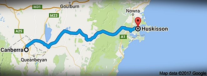 huskisson, jervis bay, road trip from canberra, canberra, ACT, google map,