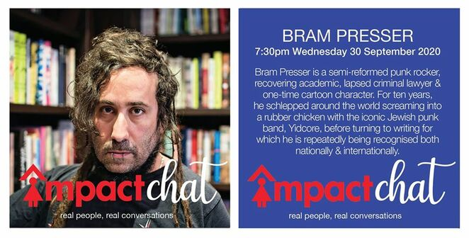 impact chat 2020, bram presser, linda thorpe, mark balla, lahra carey, real people real conversation events online, community events, fun things to do, in conversation with real people, bloom entertainment by design, melbouren events, fortnightly impact chat series, q&a online, jacqueline pascarl, jacqueline gillespie, alex kats, fundraiser, donations