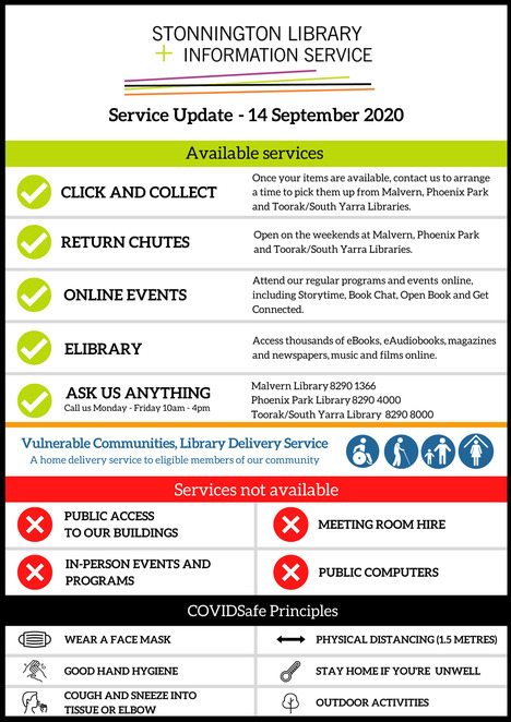 october 2020 events at stonnington library and information service, community events, fun things to do, free library events, get connected ebooks with borrowbox, spring holiday program, travel the world from home, resume workshop, open book christine sykes, it's never too late to write, history matters, inside the us electoral, virtual reality and augmented reality, home automation, book chat at home, narrative non fiction, the watermill, arnold zable, online games and brain training, family, fun for kids and adults, stay home in pandemic activities, make a mask, wear a mask