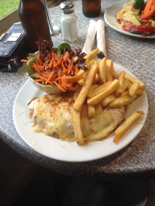 Parmi and salad, Railway Hotel