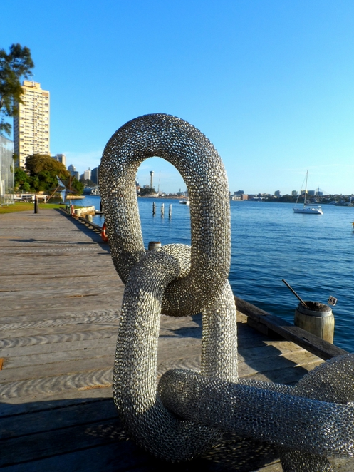 sculpture exhibition, sawmillers reserve, mcmahons point, sydney, sydney harbour foreshore, fragile piece, degrees of separation?