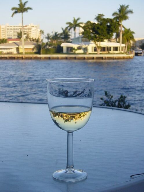 The world reflected in a glass of wine. Photo by Karen Hoffmann