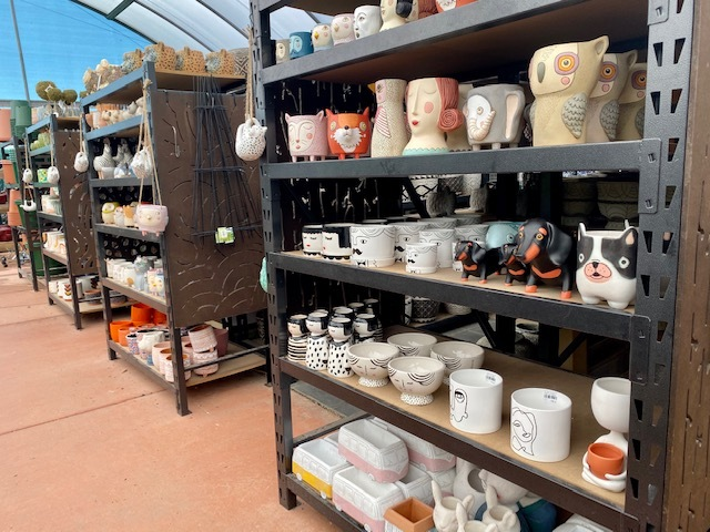 Rows of gorgeous pots sit waiting for a new home