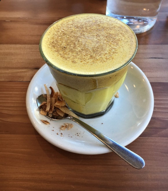 Turmeric latte, wholesome food, drinks, cafe