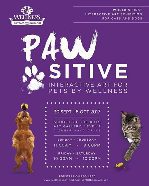 WellPet Asia Pte Ltd, Silversky Pte Ltd, PAW-sitive: Interactive Art for Pets by Wellness, SOTA, World's First Interactive Art Exhibition for Cats and Dogs, free art exhibition for dogs and cats, free event singapore, wellness pet food