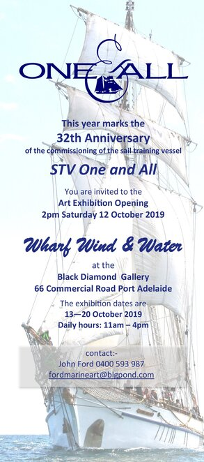 wharf wind and water, one and all, tall ship, sail training vessel, sailors, sail like yesteryear, black diamond gallery, port adelaide