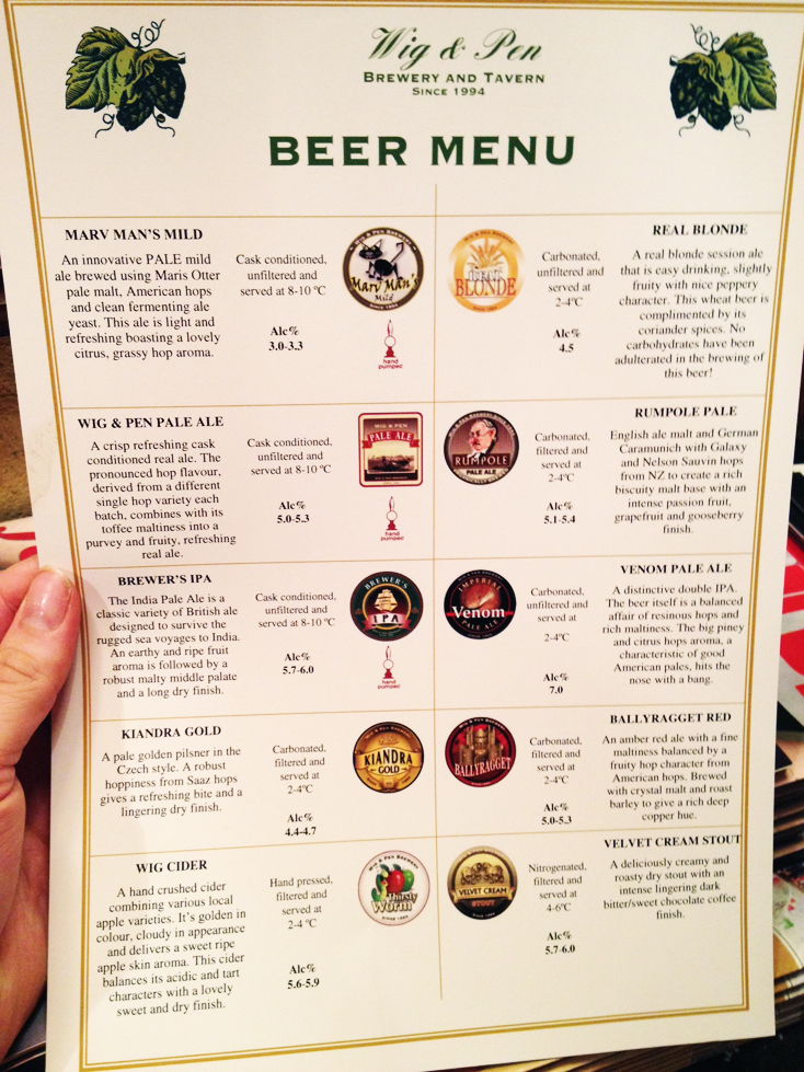 Wig and Pen Tavern Brewery Canberra – Beer Menu
