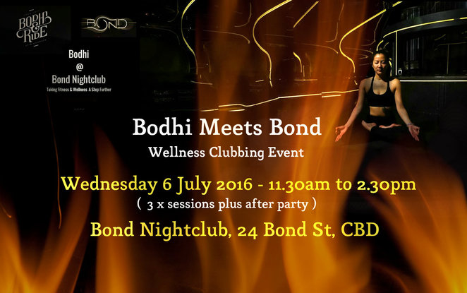 bodhi meets bond, wellness clubbing event, bond melbourne, spin classes, electric yin, deep house yoga, pressed juices, bodhi and ride, ride class, fitness, health club, DJ, kombucha, dancing, music, entertainment