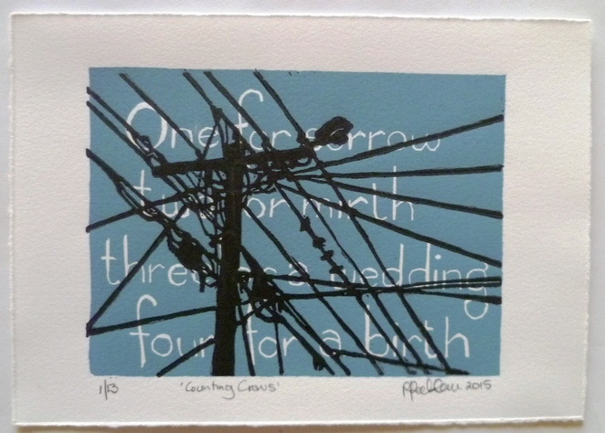 counting crows, Penny Peckham, linocut