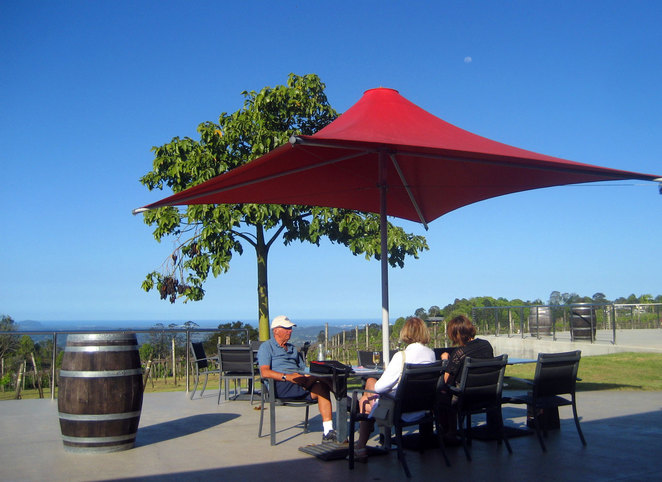 Sampling the wine on the deck at the Flame Hill Vineyard