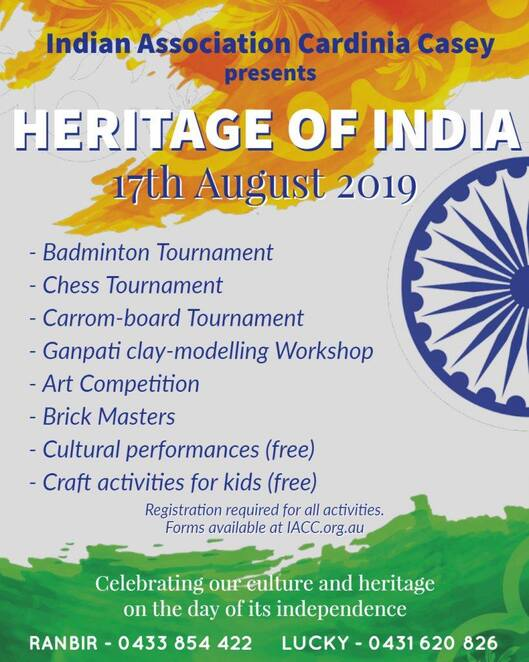 india day 2019, sports, art, culture, indian association cardinia casey, community event, fun things to do, cultural event, john henry primary school, pakenham victoria, indian independence day, iacc, competition, chess tournament, carrom tournament, badminton tournament, art exhibition, brick masters lego competition, ganesha clay modelling workshop, cultural performances, prizes, fun activities, entertainment, family fun