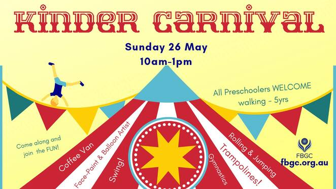 kinder carnival 2019, community event, fun for kids, gymnastics, fishermen's bend gymnastic club, jump, swing, climb and bplay, preschoolers gymnastics, face painting, balloon artist, tattoos, glitter, coffee van, sausage sizzle, vegan options, competitions and prizes, family fund ay, donation entry, port melbourne