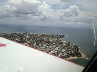 Looking out over the wing and Caloundra - what a sight