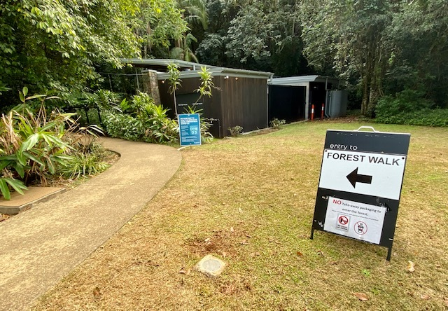 Visitors can follow the signs to the after hours entrance to the Rainforest Trail
